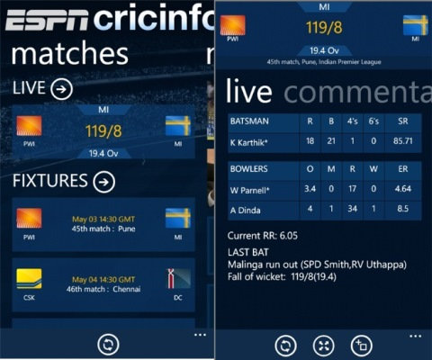 Official ESPN Cricinfo App Now Available From Windows Phone.