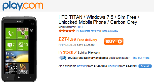 Great Deal! HTC Titan for only £274.99 5