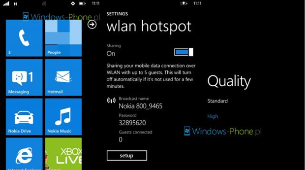 WIFI tethering in Tango update for the Nokia Lumia 800 confirmed (screen shot) 5