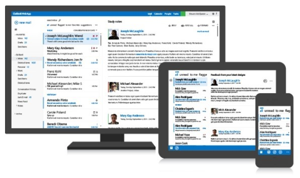 Outlook Web App 3 screens