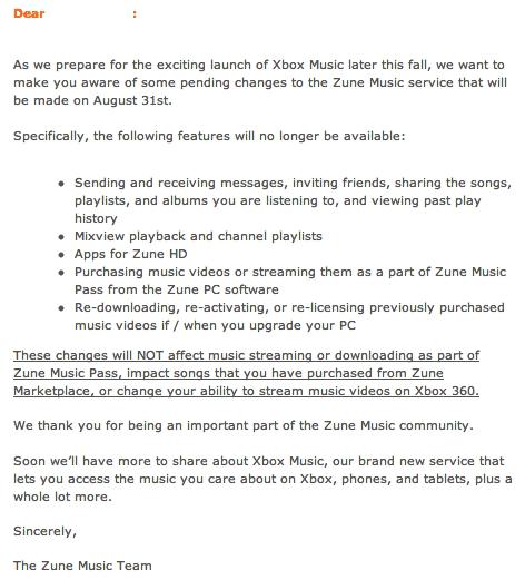 Zune Pass Letter