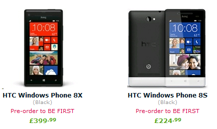 Removing Any Doubt About The Pricing Of Htcâ S Windows Phone 8 Range Exs Have Now Also Weighed In By Putting Up Pre Orders For Handsets