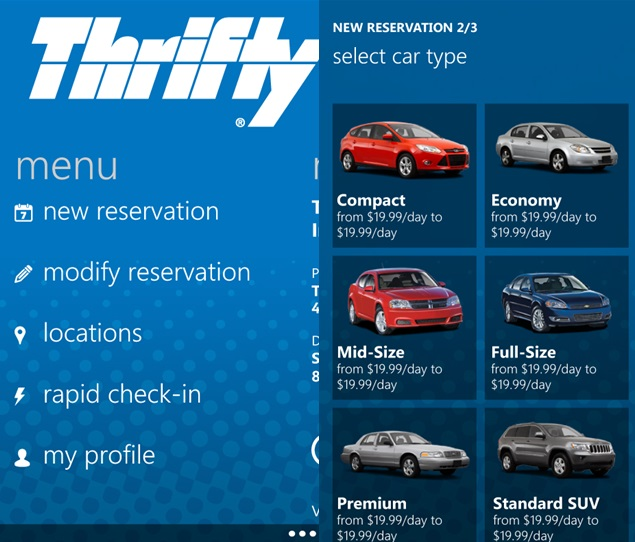 Thrifty Car Rental App Now Available For Windows Phone