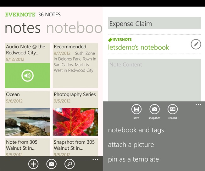 Evernote for Windows Phone