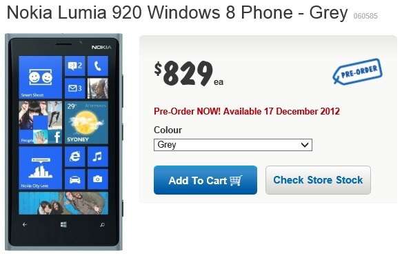 Grey Lumia 920 Available Via Harvey Norman (Australia) Available Dec. 17th