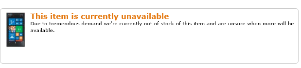 "Amazon Lists Lumia 920 as Indefinitely Out of Stock, ""Due to Tremendous Demand""- Only White & Black Left in Stock"