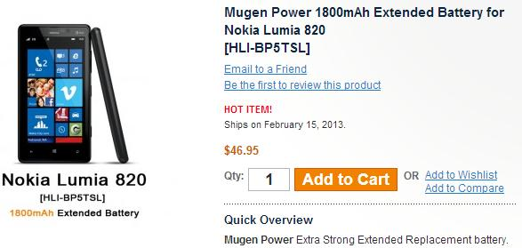 Mugen Releases 1800mAh Extended Battery For Lumia 820
