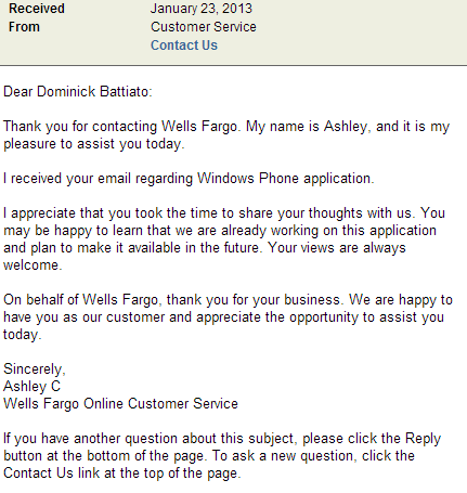 wells fargo windows phone app email proof