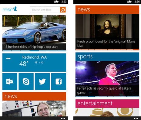 MSN app for Windows Phone 8