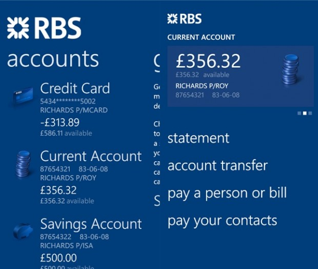 Royal Bank Of Scotland Group Windows Phone app