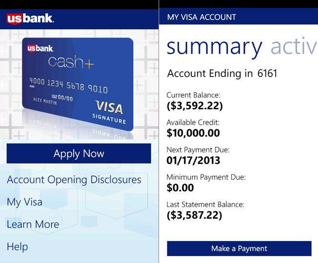 us bank windows phone app - Visa Credit Card App