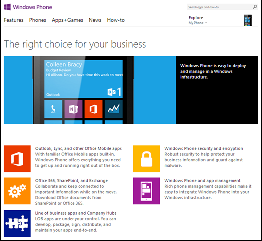 Windows phone business hub
