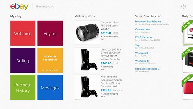 eBay Windows 8 app