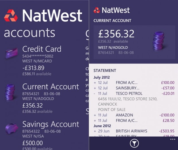 natwest Windows Phone app