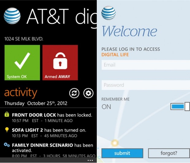 AT&T Digital Life Windows Phone app