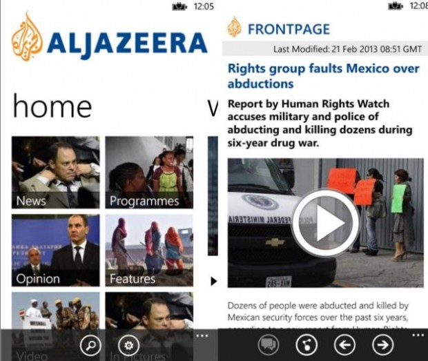 Aljazeera Windows Phone app