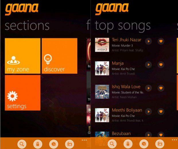 Gaana Windows Phone app