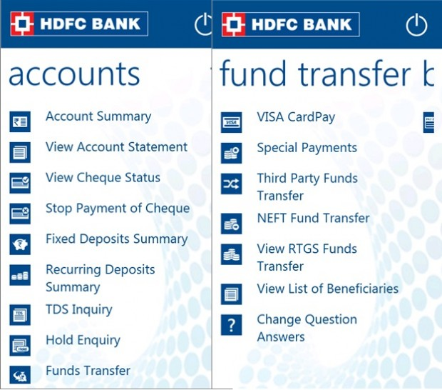 HDFC Windows Phone app