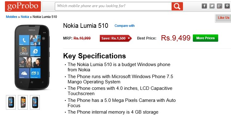 nokia lumia 520 price list. the nokia lumia 510 windows phone 7.8 handset is hitting a new low price point, with available from as 9300 inr. 520 list 0