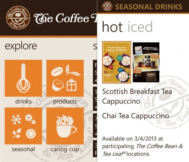 The Coffee Bean Windows Phone app