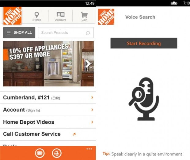 The Home Depot Windows Phone app
