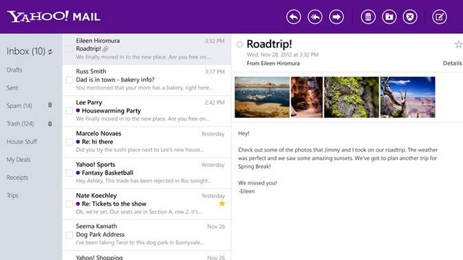Yahoo Mail Windows 8 app