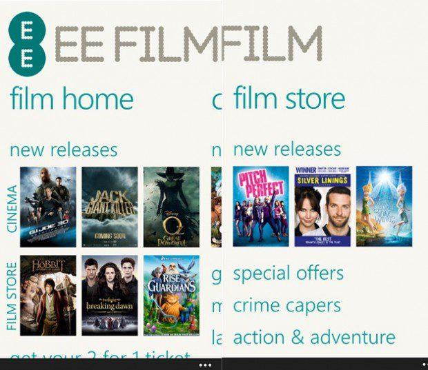 EE Film App Windows Phone