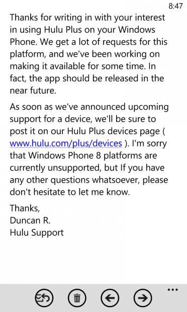 Hulu Windows Phone app