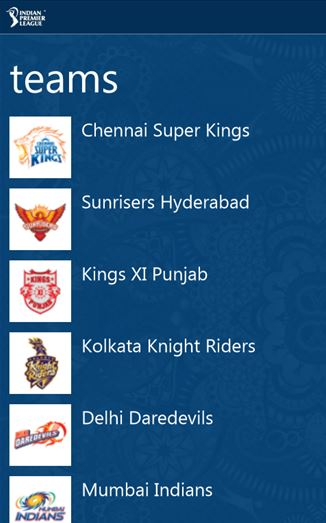IPL Windows Phone app