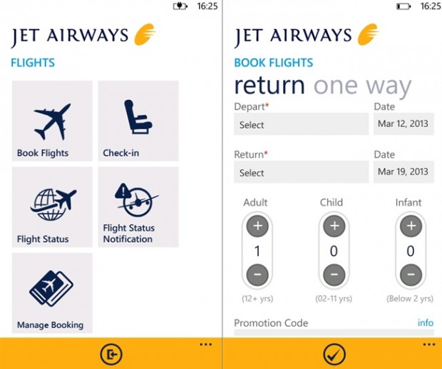 Jet Airways Windows Phone app
