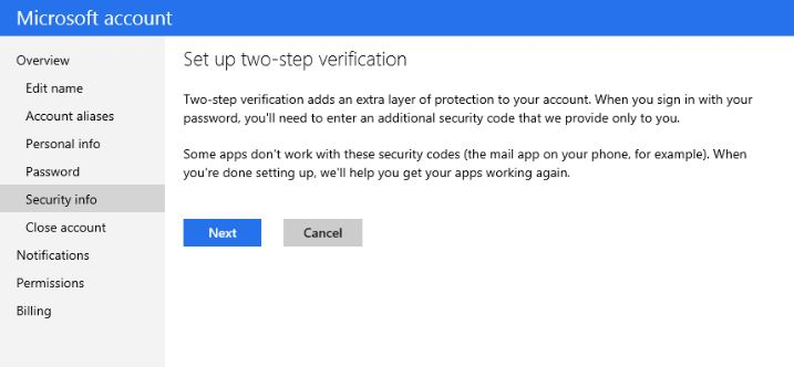 Microsoft Account Two Factor Authentication