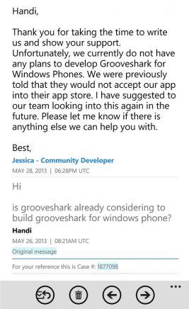Groveshark Microsoft Windows Phone