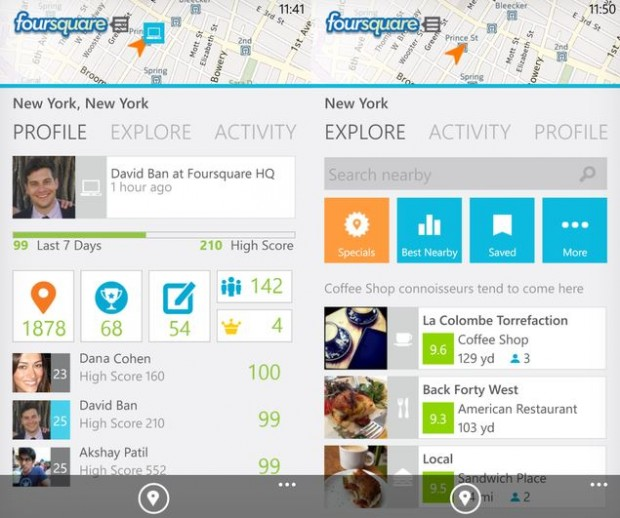 New Foursquare App Windows Phone