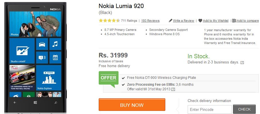 Nokia Lumia 920 Price Slashed In India To Rs.31999, Comes ...