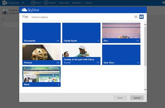 Outlook SkyDrive Integration