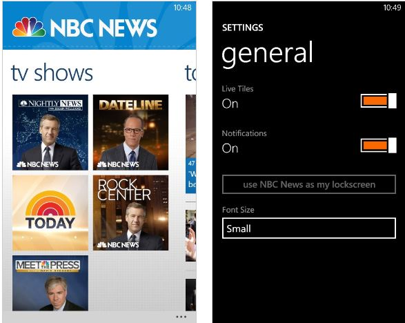 NBC News Windows Phone