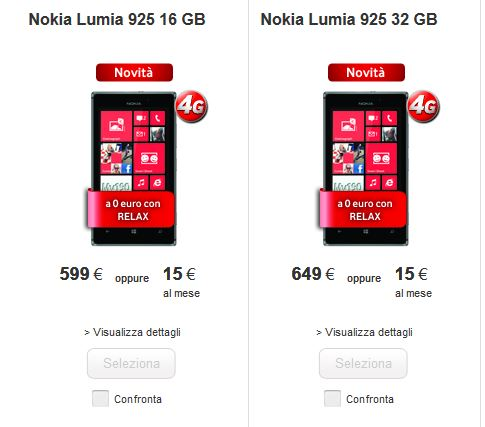 Nokia Lumia 925 Vodafone Italy