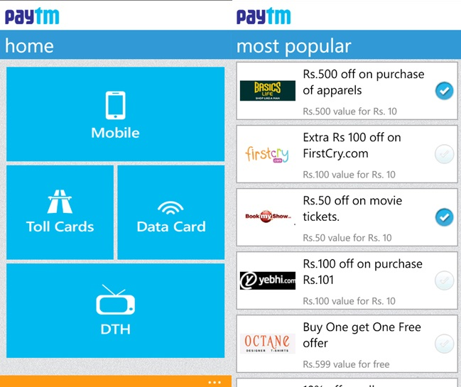 Paytm Mobile Recharge App Now Available For Windows Phone India Users