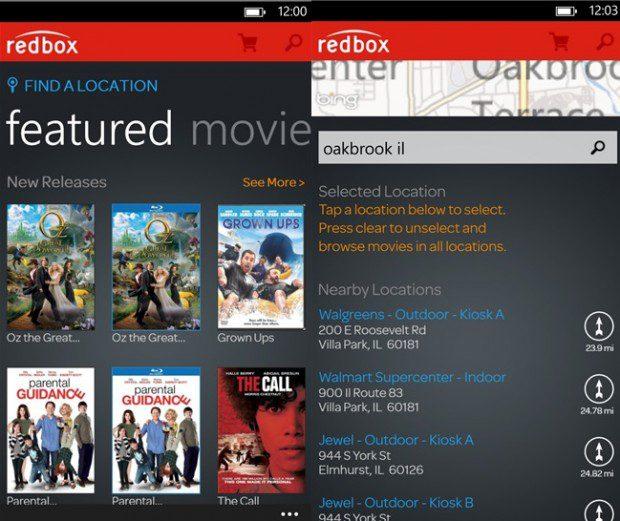 Redbox windows phone app