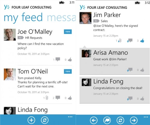 Yammer Windows Phone app