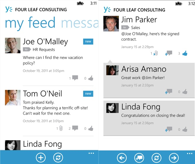 yammer windows phone app updated to v1 3 with new features
