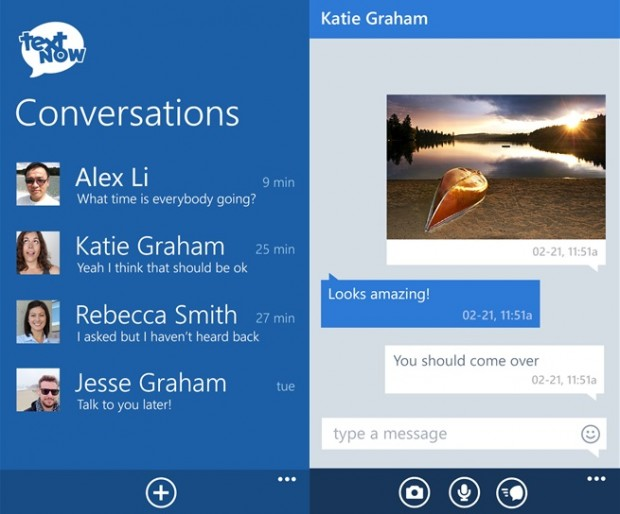 Textnow Windows Phone app