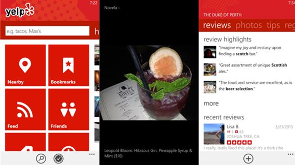 Yelp Windows Phone app