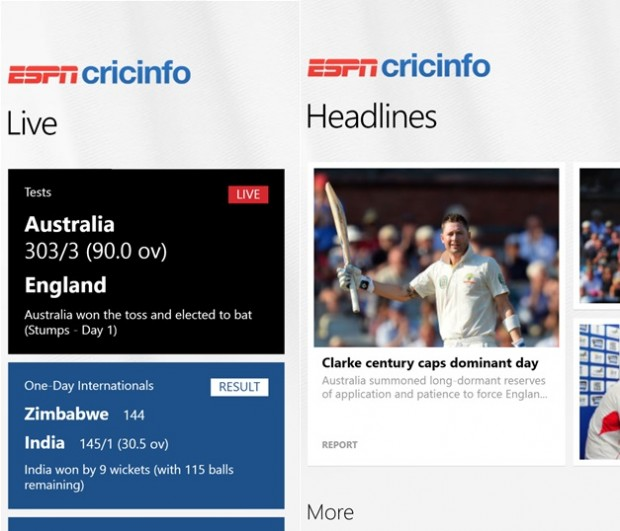 ESPN Cricinfo Windows Phone app