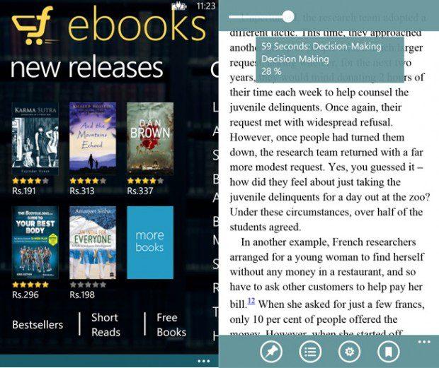 Flipkart Ebooks Windows Phone app