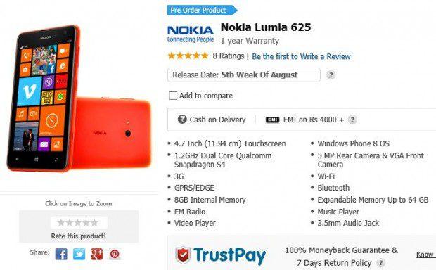 Nokia Lumia 625 India