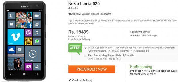 Nokia Lumia 625 India Order