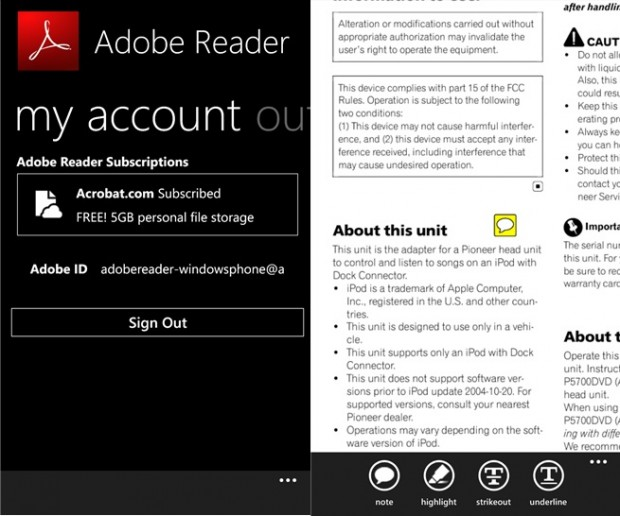 Adobe Reader Windows Phone app
