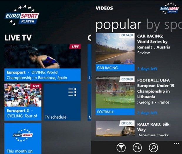 Eurosport Player Windows Phone