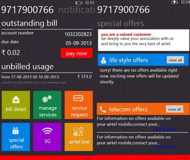 my airtel app now available for Windows Phone devices